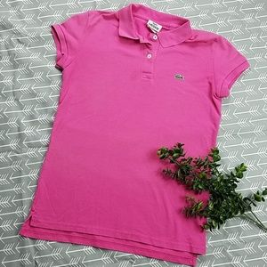 Lacoste womens hot pink polo shirt top